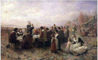 To the right, the Pilgrims and Wampanoag Indians sit down for the first Thanksgiving.