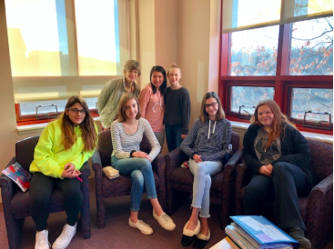 Back row: Mrs.Alenson, Jillian Yee, and Ada Gebauer. Front row: Sonya Libman, Sofia Schreiber, Amy Sheridan, and Katia Nicholson.