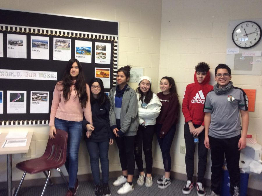 Dayane with other students in Mrs. Witxed's ELD classroom