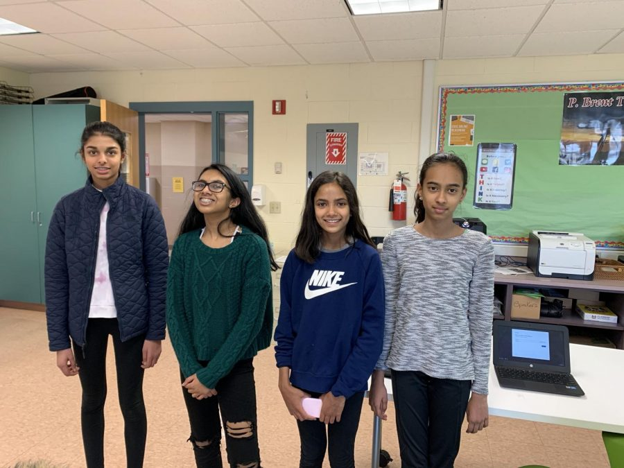 Some of the members of Trottier's Girls Who Code Club.